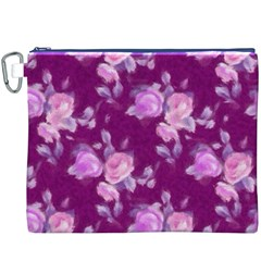 Vintage Roses Pink Canvas Cosmetic Bag (XXXL)