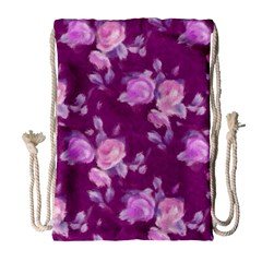 Vintage Roses Pink Drawstring Bag (Large)