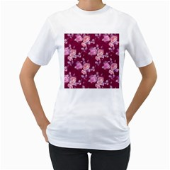 Vintage Roses Women s T-Shirt (White) (Two Sided)