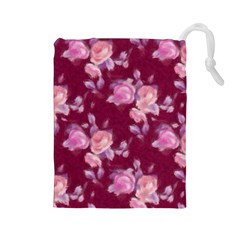 Vintage Roses Drawstring Pouches (Large)