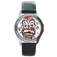 Dark Clown Drawing Round Metal Watches