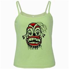 Dark Clown Drawing Green Spaghetti Tanks