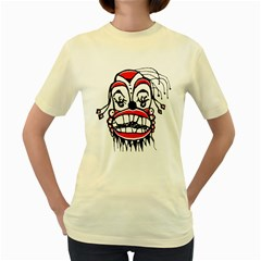 Dark Clown Drawing Women s Yellow T-Shirt