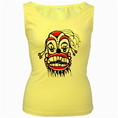 Dark Clown Drawing Women s Yellow Tank Tops