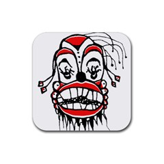 Dark Clown Drawing Rubber Square Coaster (4 pack)