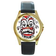 Dark Clown Drawing Round Gold Metal Watches