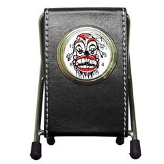Dark Clown Drawing Pen Holder Desk Clocks