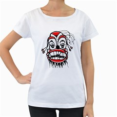 Dark Clown Drawing Women s Loose-Fit T-Shirt (White)