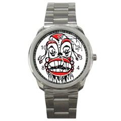 Dark Clown Drawing Sport Metal Watches
