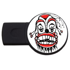 Dark Clown Drawing USB Flash Drive Round (4 GB)