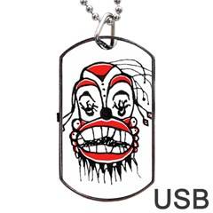 Dark Clown Drawing Dog Tag USB Flash (Two Sides)