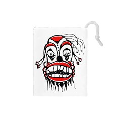 Dark Clown Drawing Drawstring Pouches (Small)