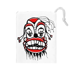Dark Clown Drawing Drawstring Pouches (Large)