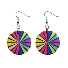 Rays in retro colors 1  Button Earrings