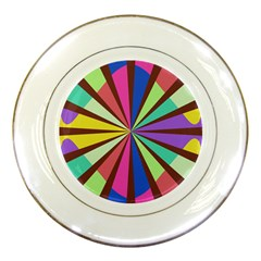Rays in retro colors Porcelain Plate