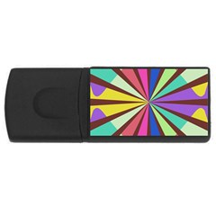 Rays in retro colors USB Flash Drive Rectangular (4 GB)