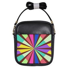 Rays in retro colors Girls Sling Bag