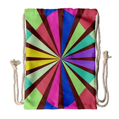 Rays in retro colors Large Drawstring Bag