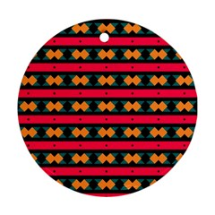 Rhombus and stripes pattern Ornament (Round)
