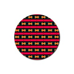 Rhombus and stripes pattern Rubber Round Coaster (4 pack)