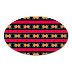 Rhombus and stripes pattern Magnet (Oval)