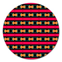 Rhombus and stripes pattern Magnet 5  (Round)