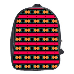 Rhombus and stripes pattern School Bag (XL)