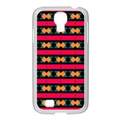 Rhombus and stripes pattern Samsung GALAXY S4 I9500/ I9505 Case (White)