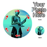 Sad Guitar Playing Cards 54 (Round)  Front - Heart6