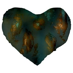 Broken Pieces Large 19  Premium Flano Heart Shape Cushions