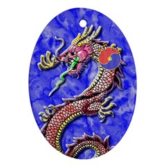 Dragon Phoenix Ornament Oval Ornament (two Sides)