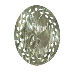 Crumpled Foil Oval Filigree Ornament (2-Side)