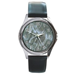 Crumpled Foil Blue Round Metal Watches