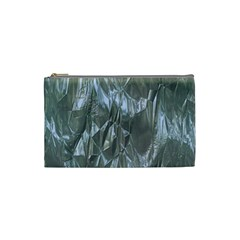 Crumpled Foil Blue Cosmetic Bag (Small)