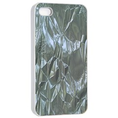 Crumpled Foil Blue Apple iPhone 4/4s Seamless Case (White)