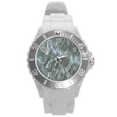 Crumpled Foil Blue Round Plastic Sport Watch (L)