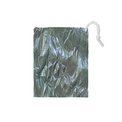 Crumpled Foil Blue Drawstring Pouches (Small)