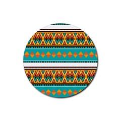 Tribal design in retro colors Rubber Coaster (Round)