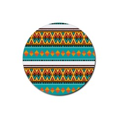 Tribal design in retro colors Rubber Round Coaster (4 pack)