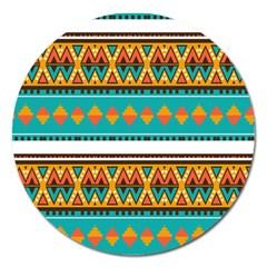 Tribal design in retro colors Magnet 5  (Round)