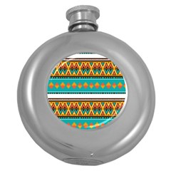 Tribal design in retro colors Hip Flask (5 oz)