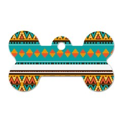 Tribal design in retro colors Dog Tag Bone (One Side)