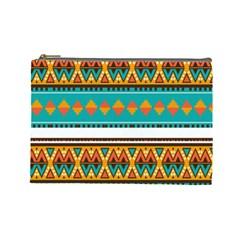 Tribal design in retro colors Cosmetic Bag (Large)