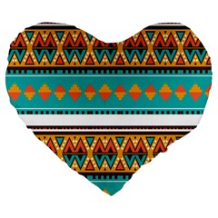 Tribal design in retro colors Large 19  Premium Heart Shape Cushion