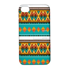 Tribal design in retro colors Apple iPhone 4/4S Hardshell Case with Stand