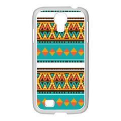 Tribal design in retro colors Samsung GALAXY S4 I9500/ I9505 Case (White)