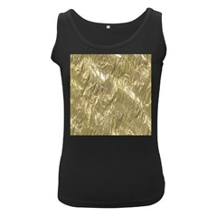 Crumpled Foil Golden Women s Black Tank Tops