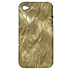 Crumpled Foil Golden Apple iPhone 4/4S Hardshell Case (PC+Silicone)