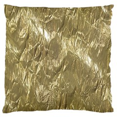 Crumpled Foil Golden Large Flano Cushion Cases (Two Sides)