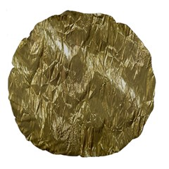 Crumpled Foil Golden Large 18  Premium Flano Round Cushions